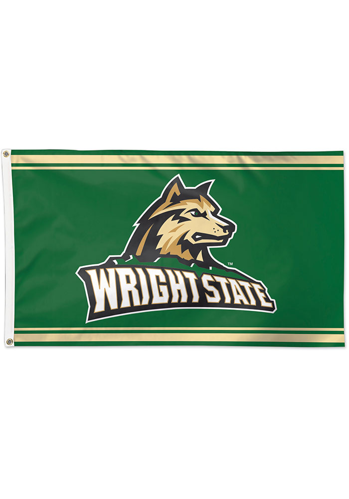 Wright State Raiders 3x5 Green Silk Screen Grommet Flag - Image 1