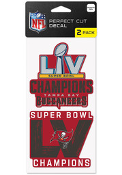 Tampa Bay Buccaneers Super Bowl LV Champions 2 Pack Auto Decal - Red