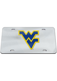 West Virginia Mountaineers Classic Acrylic Team Logo Silver Car Accessory License Plate