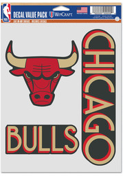 Chicago Bulls City Edition 3 Pack Auto Decal - Black