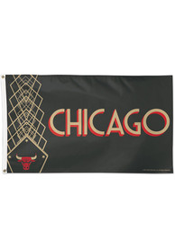 Chicago Bulls City Edition 3x5 Black Silk Screen Grommet Flag