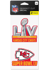 Kansas City Chiefs Super Bowl LV Bound Set of 2 4x8 Auto Decal - Red