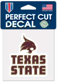 Texas State Bobcats 4x4 Full Color Auto Decal - Maroon