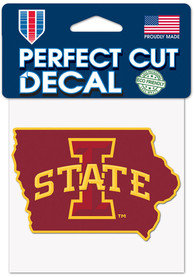 Iowa State Cyclones 4x4 State Shape Auto Decal - Red