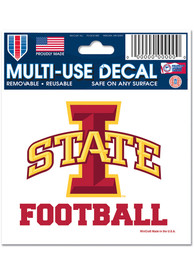 Iowa State Cyclones 3x4 Football Ultra Auto Decal - Red