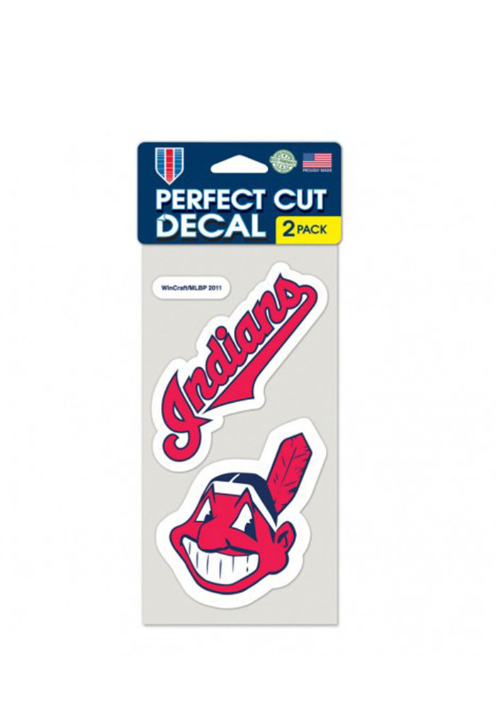 Cleveland Indians 2-Pack 4x4 Perfect Cut Decal - Image 1