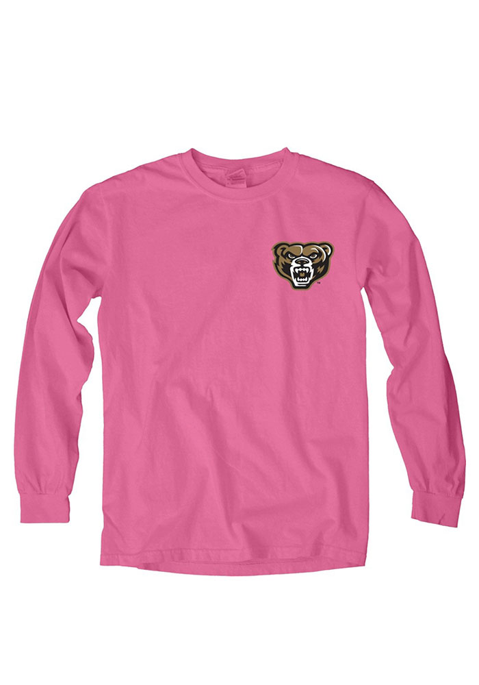 Oakland University Golden Grizzlies Womens Pink Paisley Lily LS Tee - Image 1