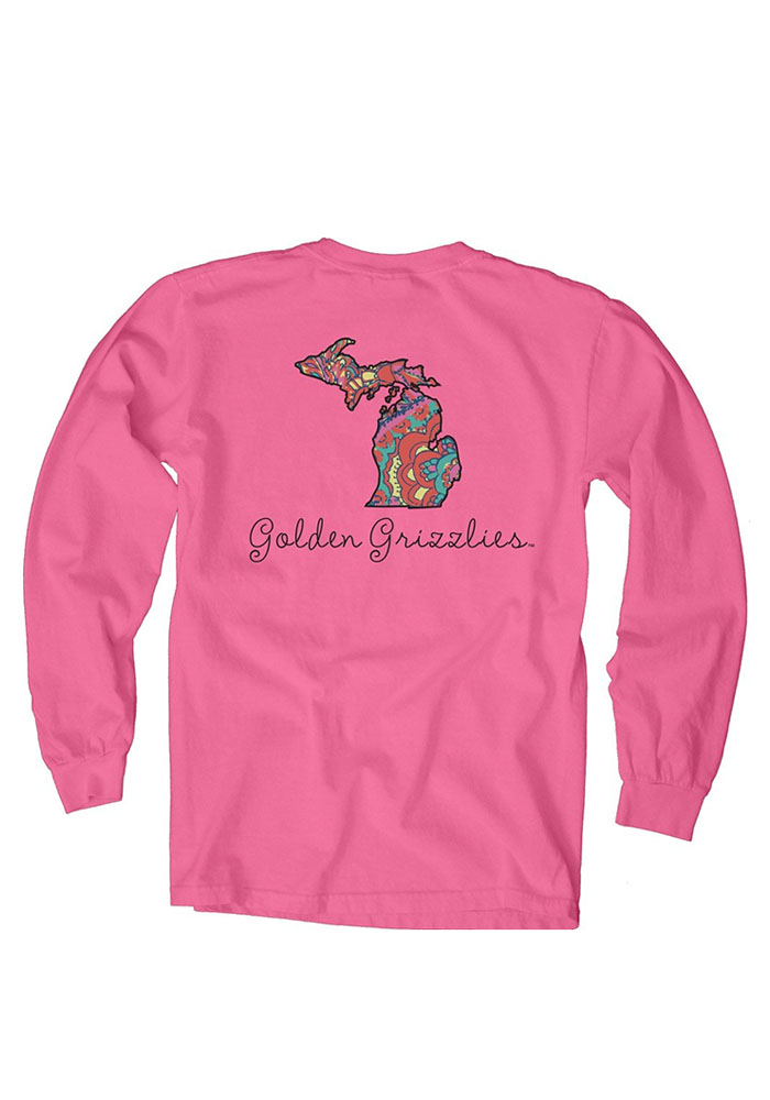 Oakland University Golden Grizzlies Womens Pink Paisley Lily LS Tee - Image 2