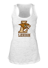 Lehigh University Juniors White Burnout Tank Top