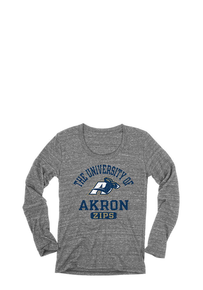 Akron Zips Juniors Grey Danville Long Sleeve Scoop Neck, Grey, 50 POLY/ 37 COT/ 13 RAY, Size L