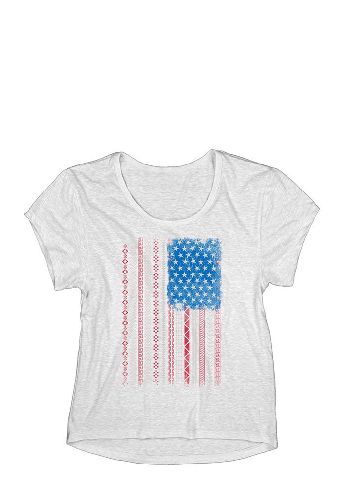 Team USA Womens White Patterned Flag Short Sleeve T Shirt - Image 1