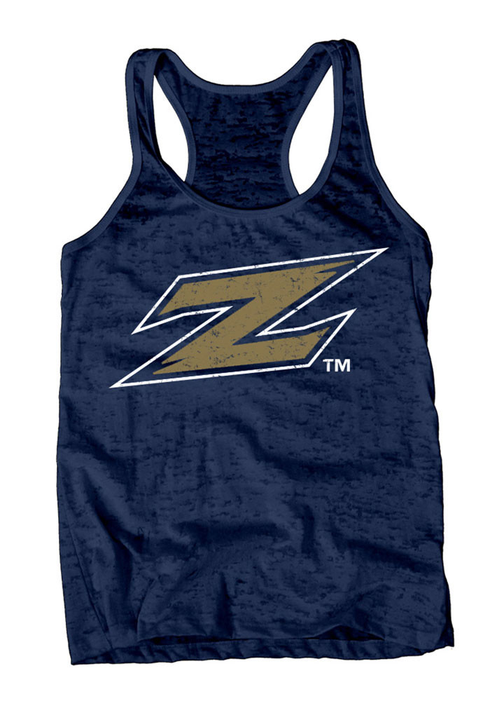 Akron Zips Womens Navy Blue Burnout Tank Top - Image 1