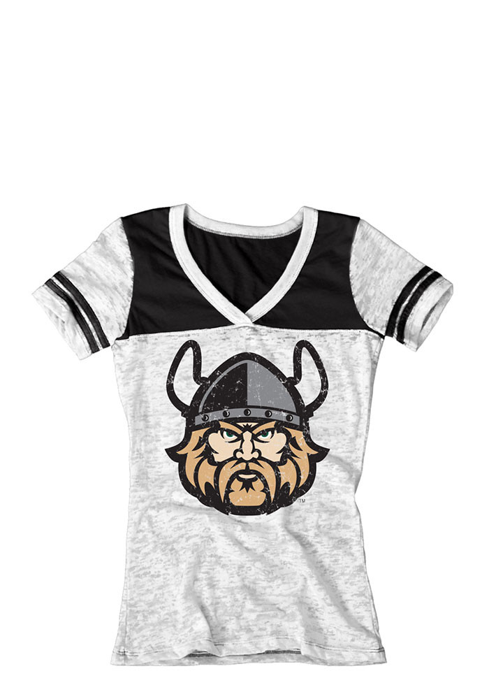 Cleveland State Vikings Juniors White Burnout V-Neck T-Shirt - Image 1