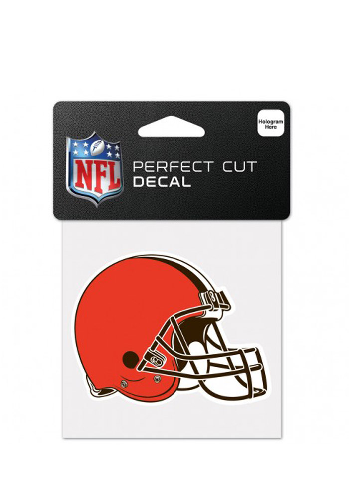 Cleveland Browns 4x4 Perfect Cut Auto Decal - Orange - Image 1