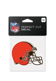Cleveland Browns 4x4 Perfect Cut Auto Decal - Orange