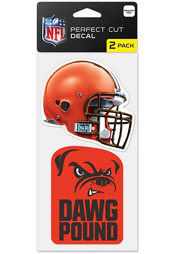 Cleveland Browns 2-Pack 4x4 Perfect Cut Auto Decal - Orange - Image 1