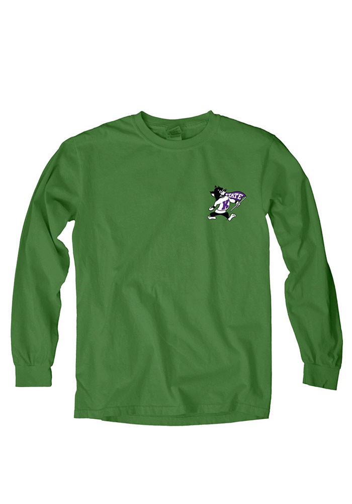 K-State Wildcats Womens Green Overdyed Long Sleeve Crew T-Shirt - Image 1
