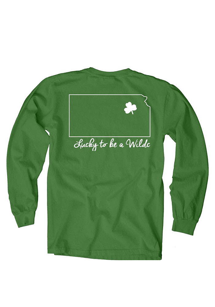 K-State Wildcats Womens Green Overdyed Long Sleeve Crew T-Shirt - Image 2