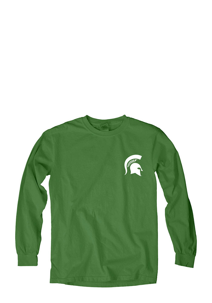 Michigan State Spartans Womens Green Overdyed Long Sleeve Crew T-Shirt - Image 1