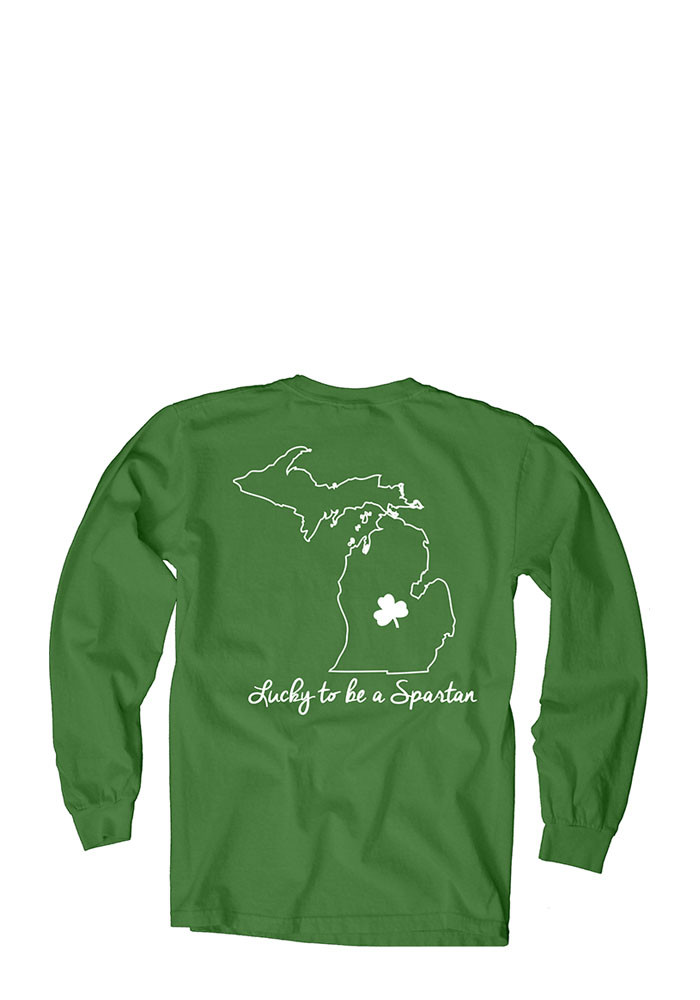 Michigan State Spartans Womens Green Overdyed Long Sleeve Crew T-Shirt - Image 2