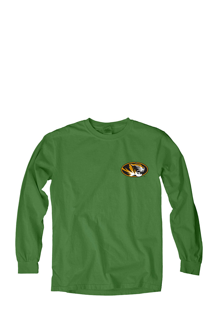 Missouri Tigers Womens Green Overdyed Long Sleeve Crew T-Shirt 571160