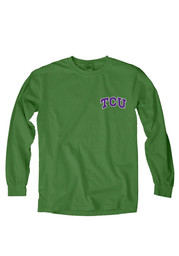 Horned Frogs Womens Overdyed Green T-Shirt