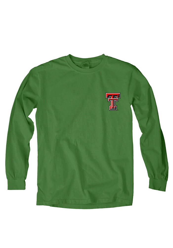 Texas Tech Red Raiders Womens Green Overdyed Long Sleeve Crew T-Shirt - Image 1