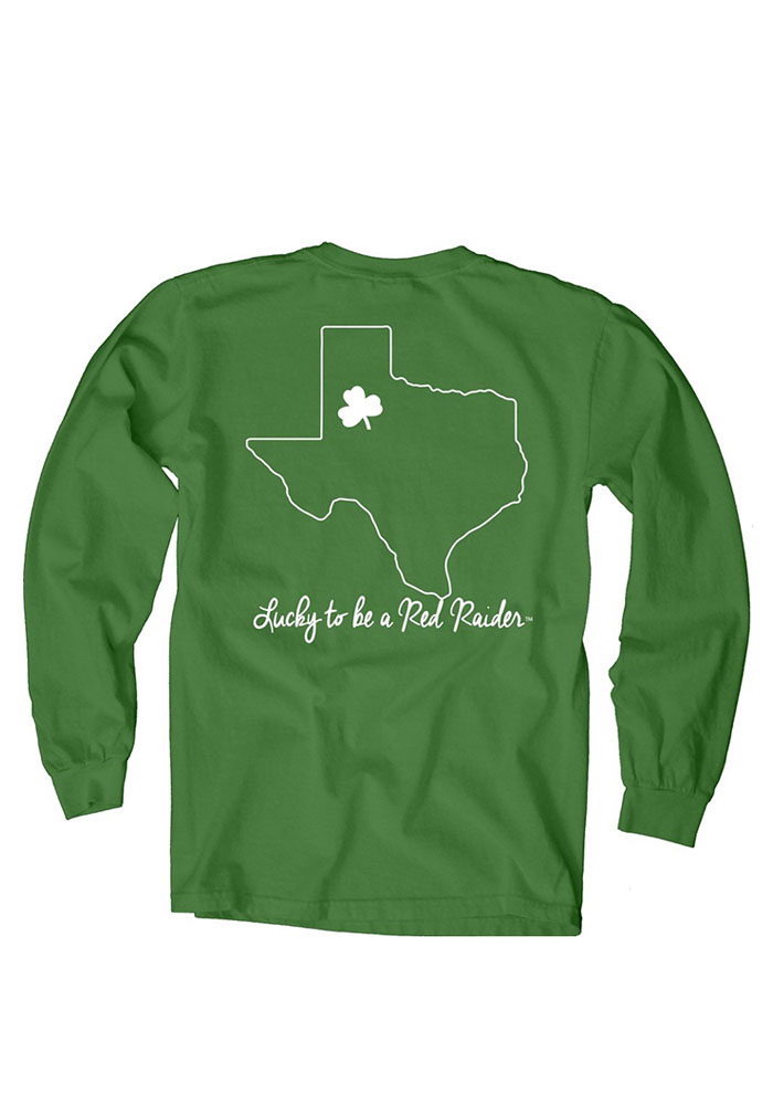 Texas Tech Red Raiders Womens Green Overdyed Long Sleeve Crew T-Shirt - Image 2