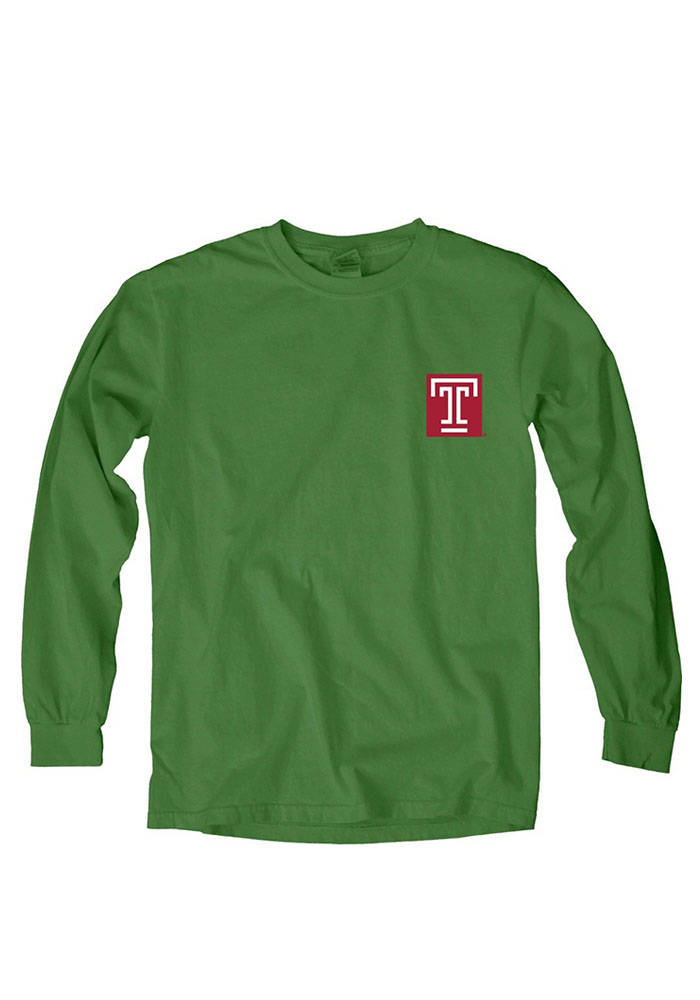 Temple Owls Womens Green Overdyed Long Sleeve Crew T-Shirt - Image 1