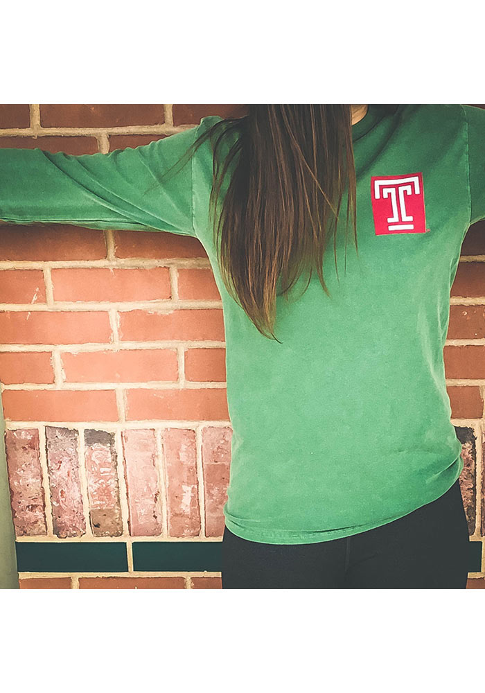 Temple Owls Womens Green Overdyed Long Sleeve Crew T-Shirt - Image 2