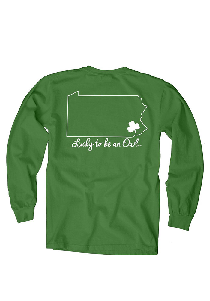 Temple Owls Womens Green Overdyed Long Sleeve Crew T-Shirt - Image 3