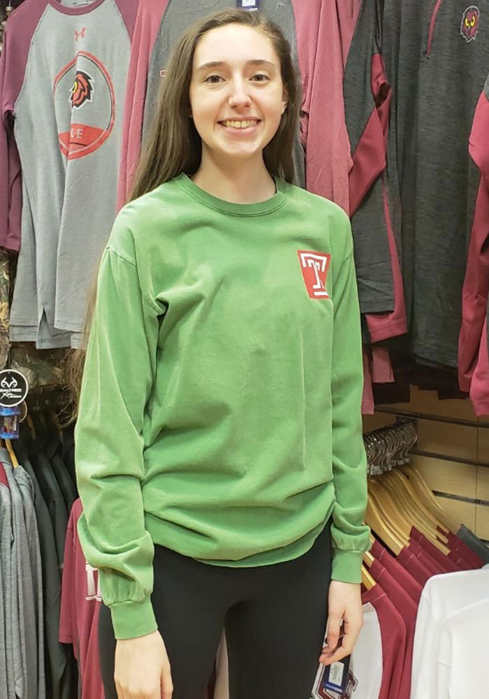 Temple Owls Womens Green Overdyed Long Sleeve Crew T-Shirt - Image 4