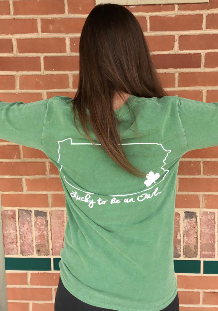 Temple Owls Womens Green Overdyed Long Sleeve Crew T-Shirt - Image 5