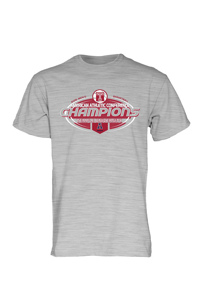 Temple Owls Mens Gray AAC Champions Short Sleeve T Shirt - Image 1