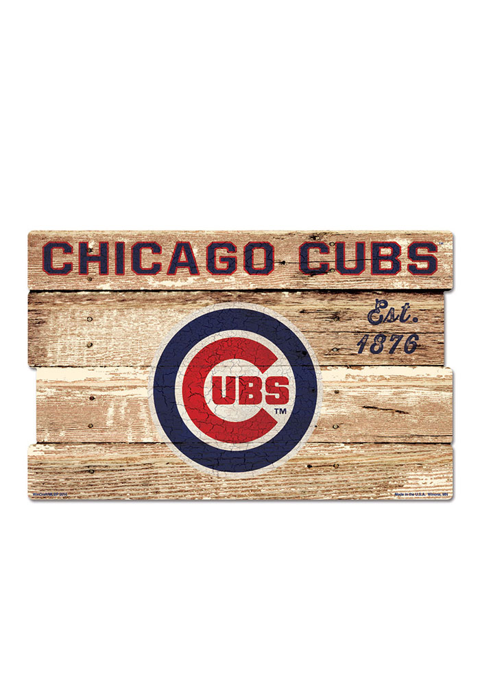 Charmant Chicago Cubs 19x30 Wood Plank Sign