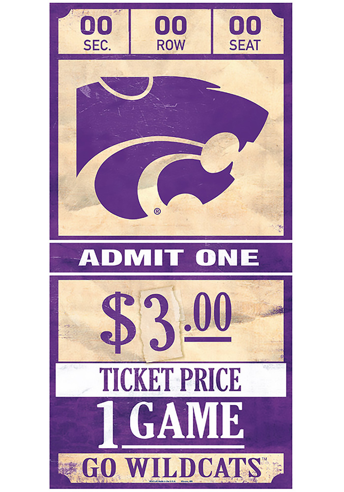 K-State Wildcats 6x12 Ticket Wood Sign - Image 1