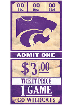 K-State Wildcats 6x12 Ticket Wood Sign