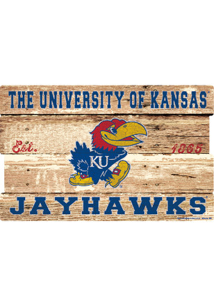 Kansas Jayhawks 19x30 Wood Plank Sign