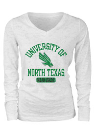 North Texas Mean Green Juniors White Burnout T-Shirt