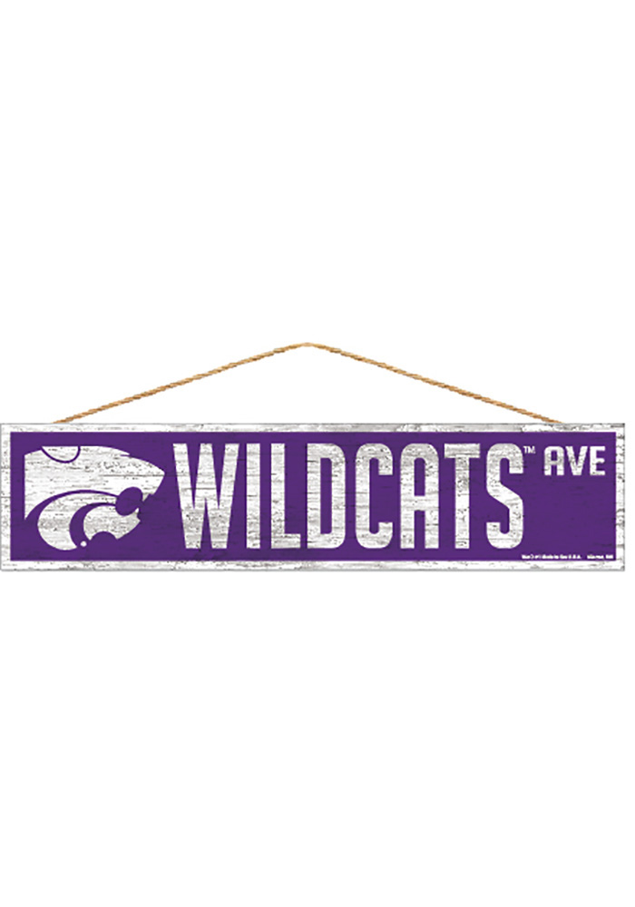 K-State Wildcats 4x17 Avenue Wood Sign - Image 1