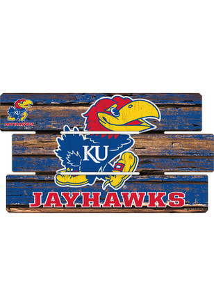Kansas Jayhawks 14x25 Painted Fence Wood Sign