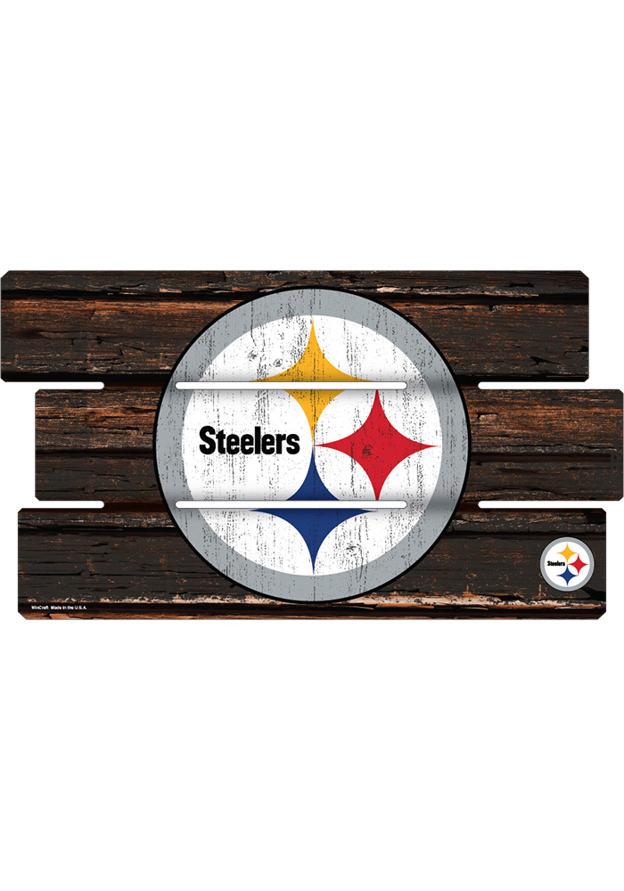 Pittsburgh Steelers 14x25 Painted Fence Wood Sign - Image 1