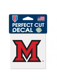 Miami RedHawks 4x4 Perfect-Cut Auto Decal - Red