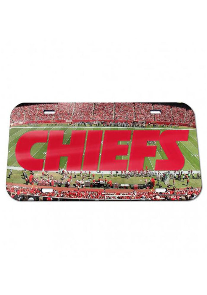 Kansas City Chiefs Crystal Mirror Stadium Car Accessory License Plate - Image 1