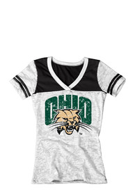 Ohio Bobcats Juniors White Burnout V-Neck