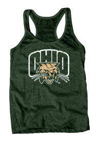 Ohio Bobcats Juniors Green Burnout Tank Top