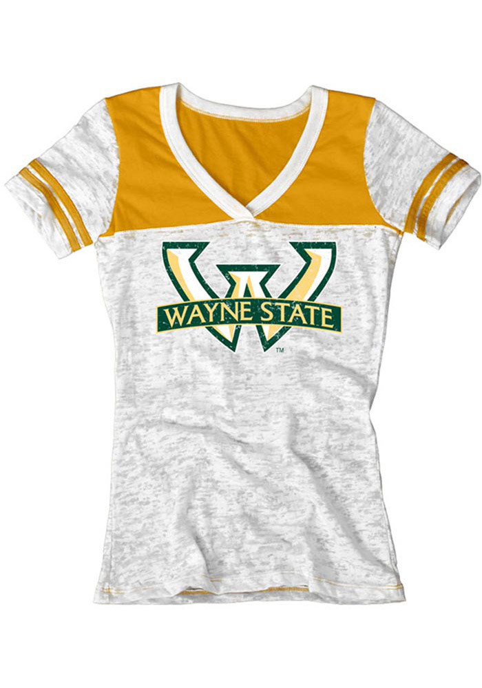 Wayne State Warriors Womens White Burnout V-Neck T-Shirt - Image 1