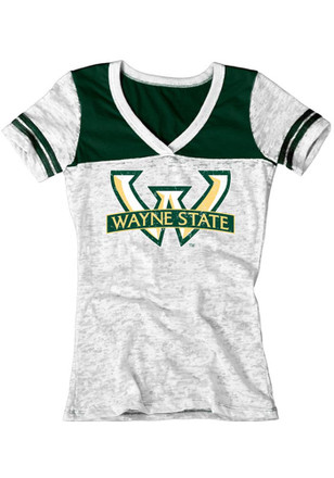Wayne State Warriors Womens White Burnout V-Neck