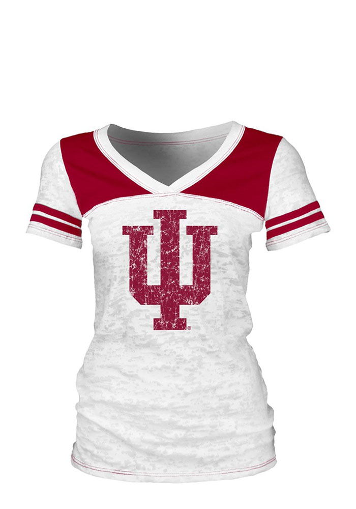 Indiana Hoosiers Juniors White Burnout V-Neck T-Shirt - Image 1