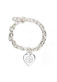 Pittsburgh Steelers Womens Heart Charm Bracelet - Silver